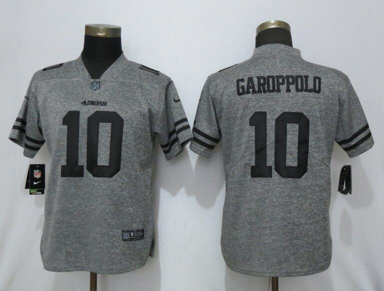 Nike 49ers 10 Jimmy Garoppolo Gray Gridiron Gray Women Vapor Untouchable Limited Jersey