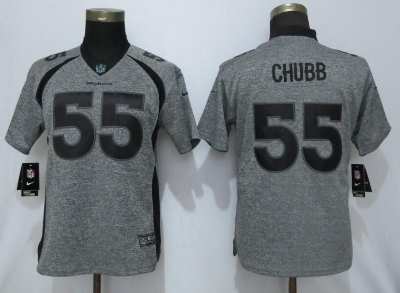 Nike Broncos 55 Bradley Chubb Gray Gridiron Gray Women Vapor Untouchable Limited Jersey