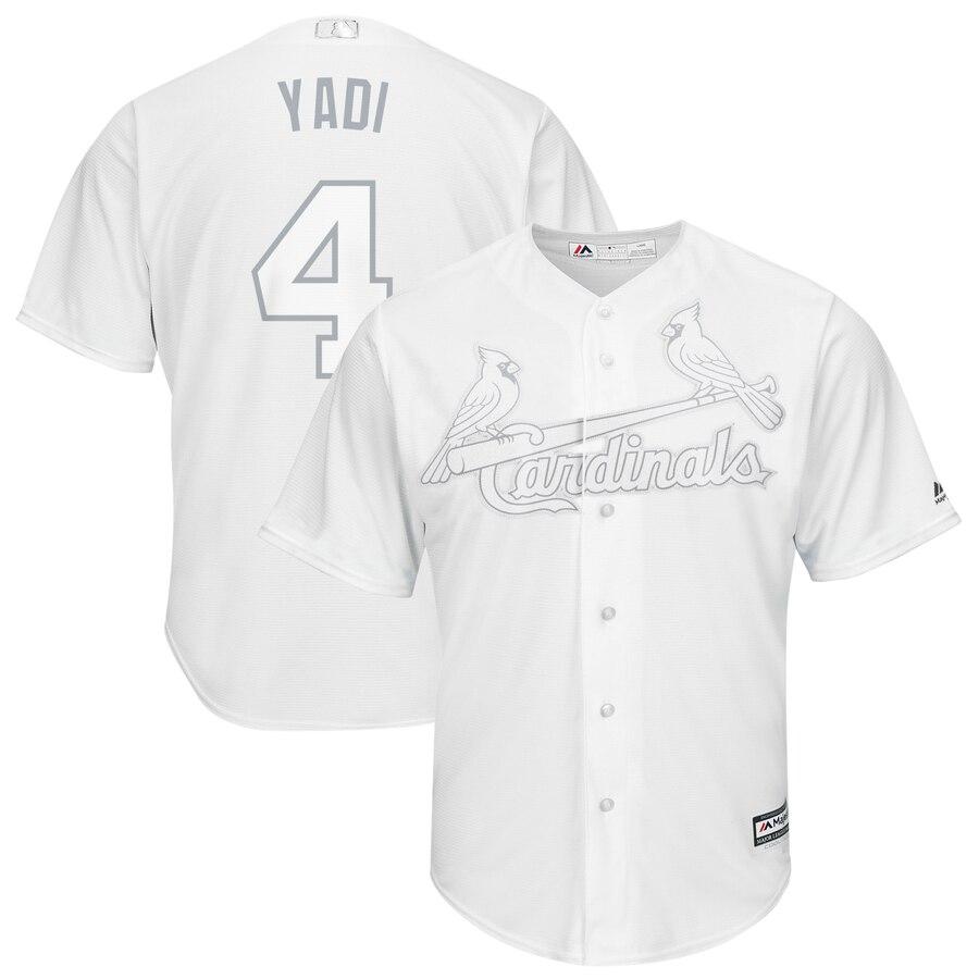 """Cardinals 4 Yadier Molina """"Yadi"""" White 2019 Players' Weekend Player Jersey"""