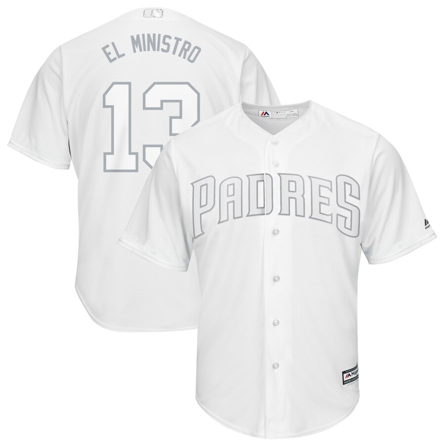 """Padres 13 Manny Machado """"El Ministro"""" White 2019 Players' Weekend Player Jersey"""