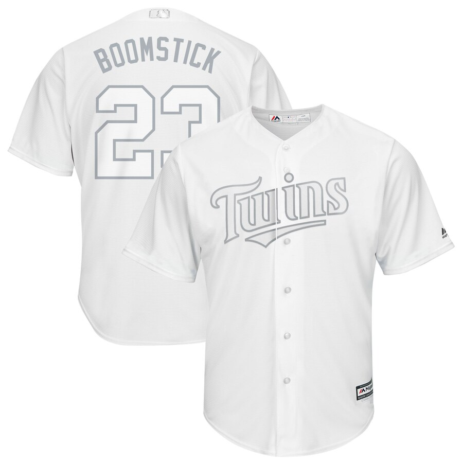 """Twins 23 Nelson Cruz """"Boomstick"""" White 2019 Players' Weekend Player Jersey"""