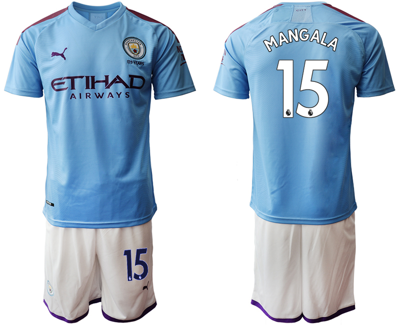 2019-20 Manchester City 15 MANGALA Home Soccer Jersey