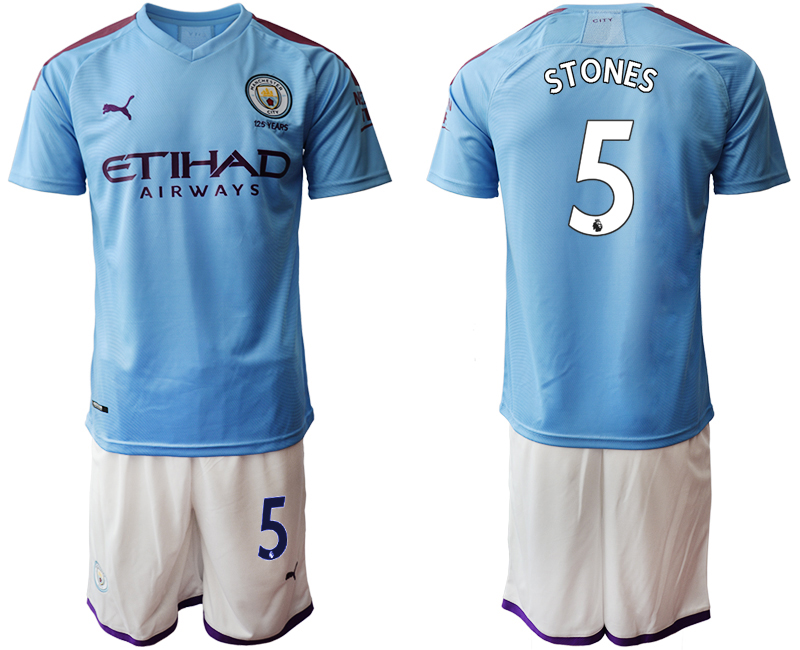 2019-20 Manchester City 5 STONES Home Soccer Jersey