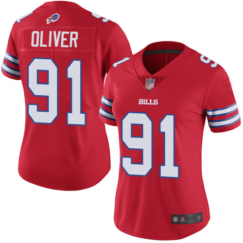 Nike Bills 91 Ed Oliver Red Women Color Rush Limited Jersey