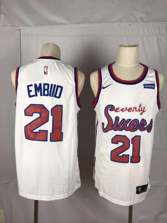 76ers 21 Joel Embiid White Nike Throwback Swingman Jersey