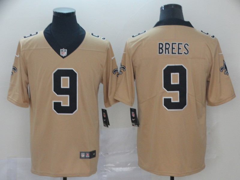 Nike Saints 9 Drew Brees Cream Inverted Legend Limited Jersey