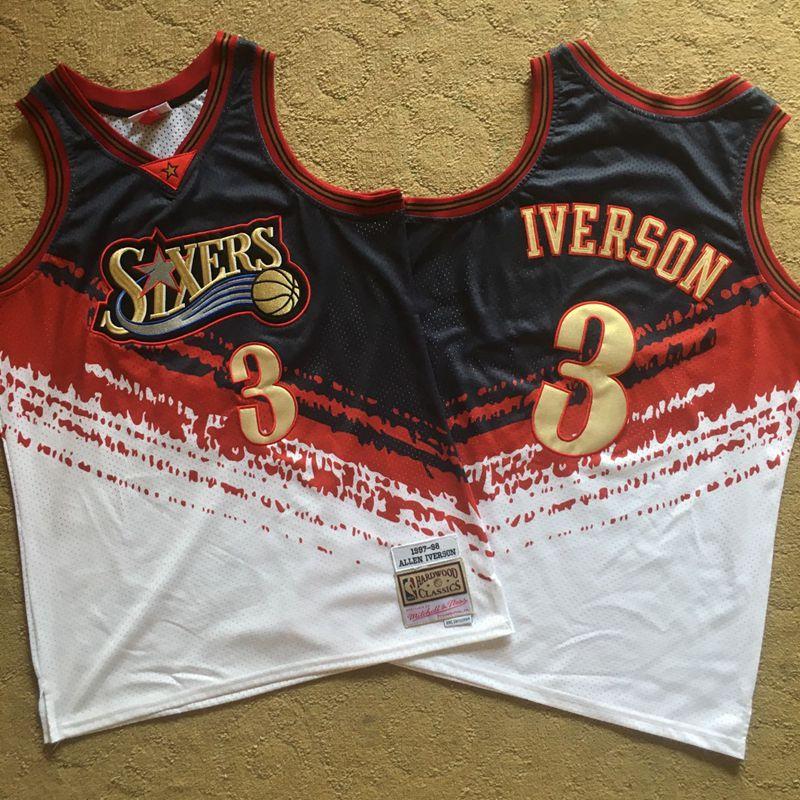 76ers 3 Allen Iverson Multi Color 1997-98 Hardwood Classics Independent Swingman Jersey