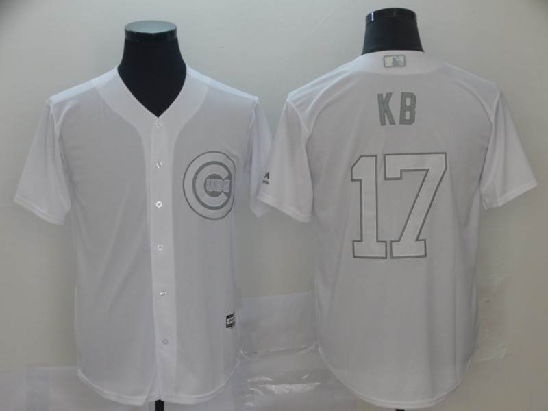 """Cubs 17 Kris Bryant """"KB"""" White 2019 Players' Weekend Player Jersey"""