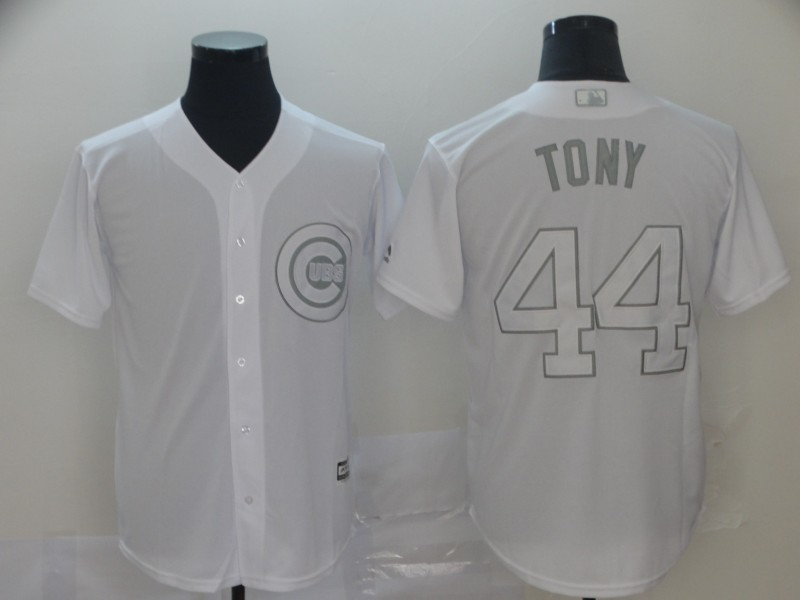 """Cubs 44 Anthony Rizzo """"Tony"""" White 2019 Players' Weekend Player Jersey"""