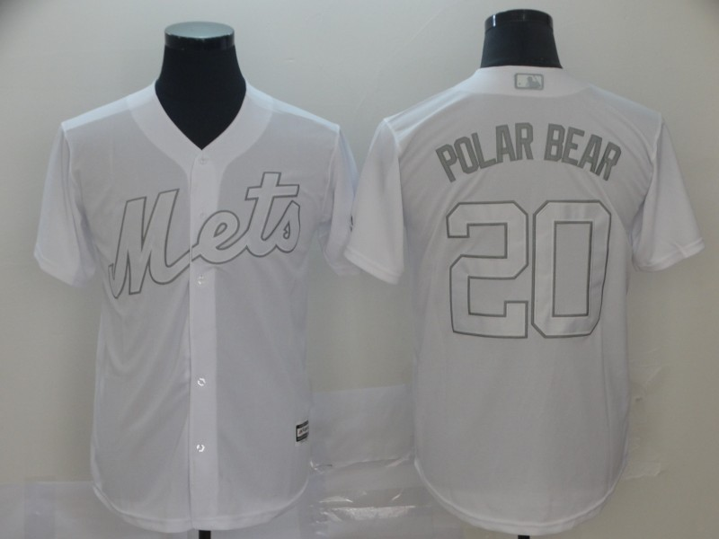 """Mets 20 Pete Alonso """"Polar Bear"""" White 2019 Players' Weekend Player Jersey"""