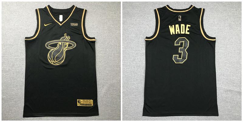 Heat 3 Dwyane Wade Black Gold Nike Swingman Jersey