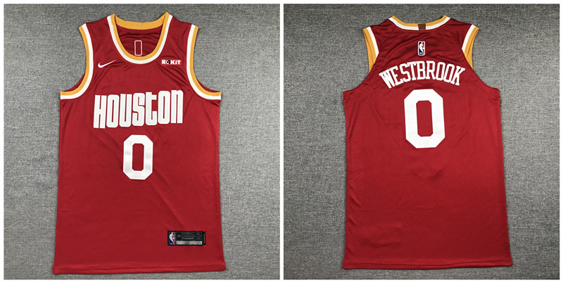 Rockets 0 Russell Westbrook Red Nike Retro Authentic Jersey