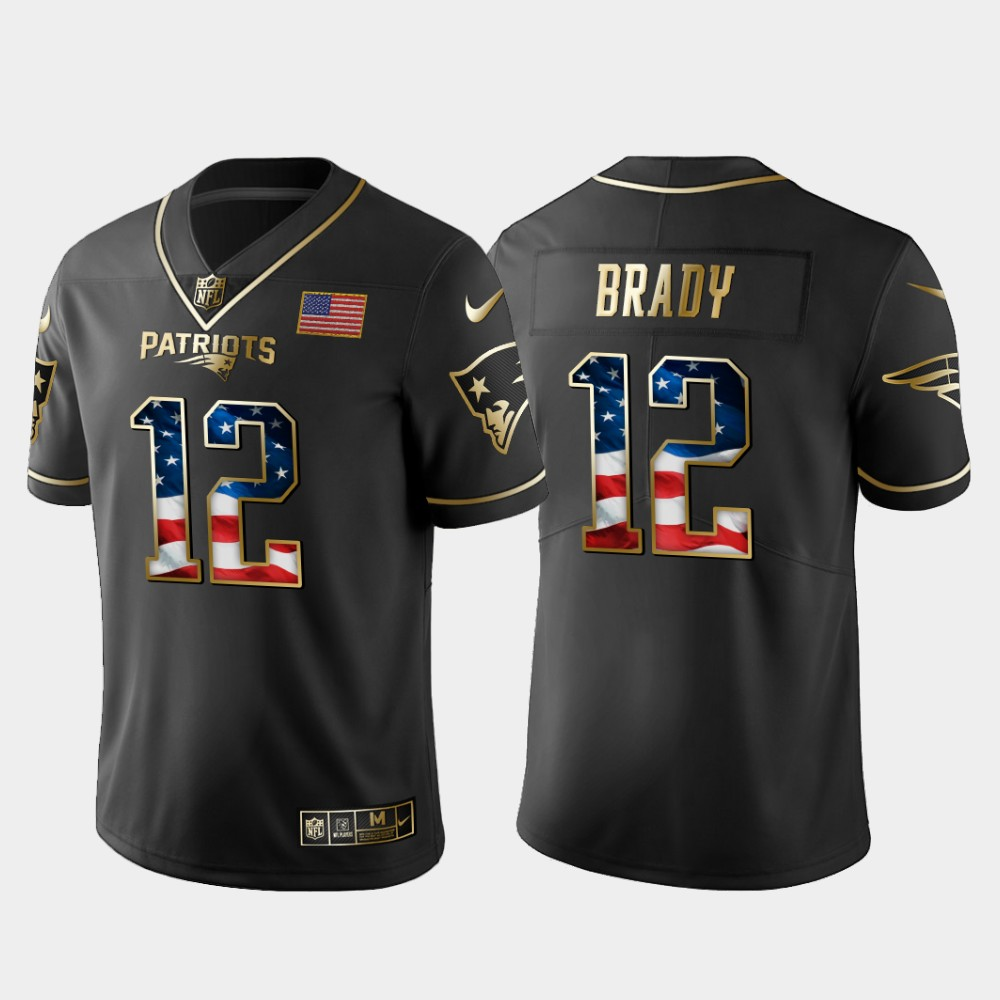 Nike Patriots 12 Tom Brady Black Gold USA Flag Fashion Limited Jersey
