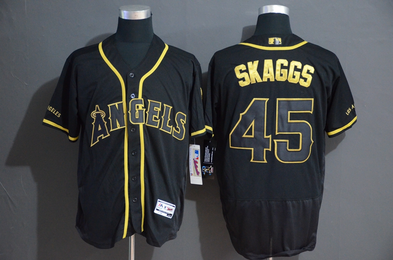 Angels 45 Tyler Skaggs Black Gold Flexbase Jersey