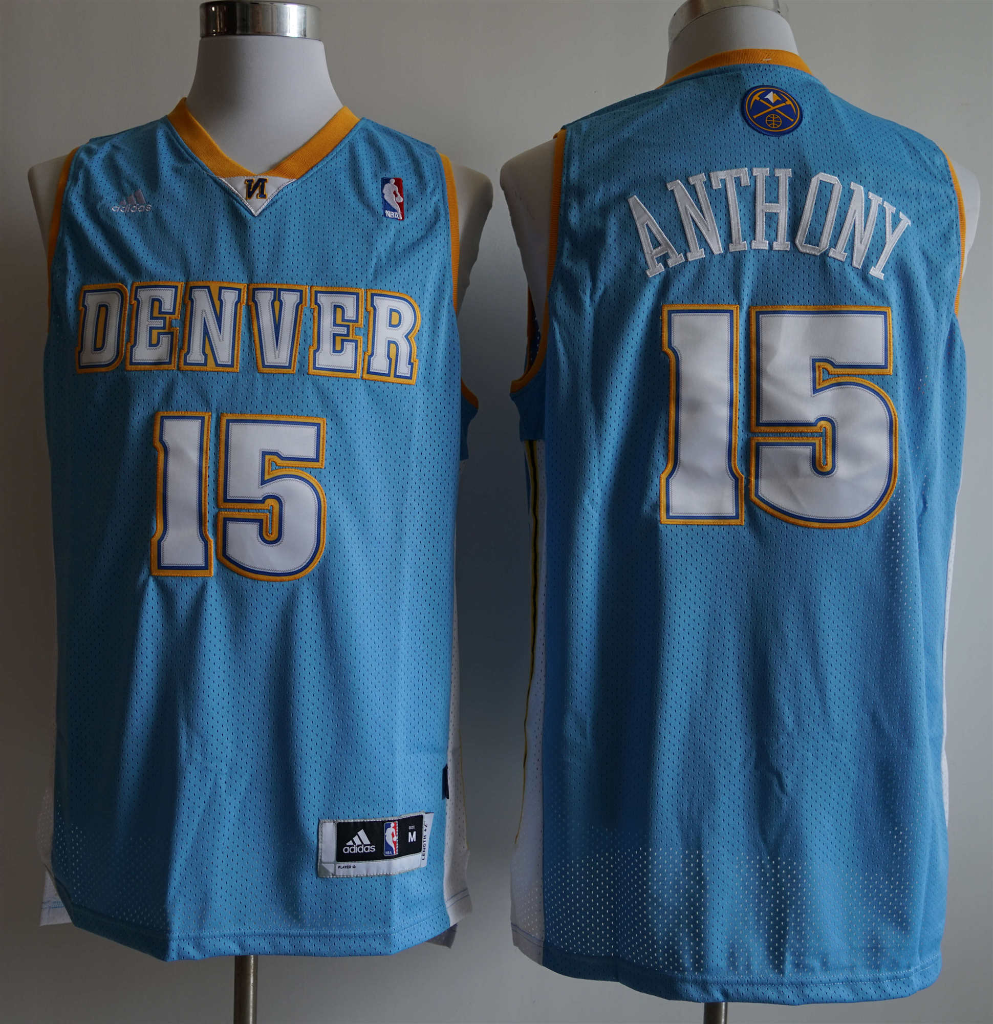 Nuggets 15 Carmelo Anthony Light Blue Adidas Jersey