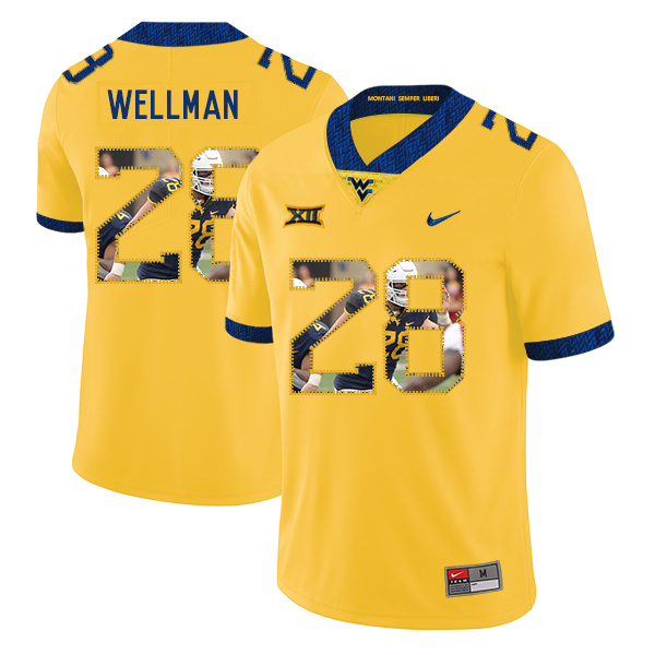 West Virginia Mountaineers 28 Elijah Wellman Yellow Fashion College Football Jersey