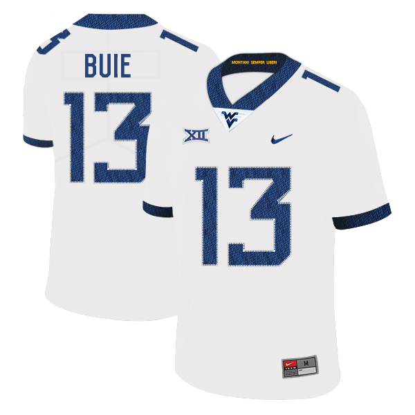 West Virginia Mountaineers 13 Andrew Buie White College Football Jersey