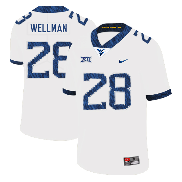 West Virginia Mountaineers 28 Elijah Wellman White College Football Jersey