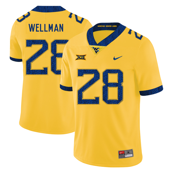 West Virginia Mountaineers 28 Elijah Wellman Yellow College Football Jersey