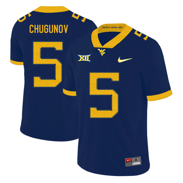 West Virginia Mountaineers 5 Chris Chugunov Navy College Football Jersey