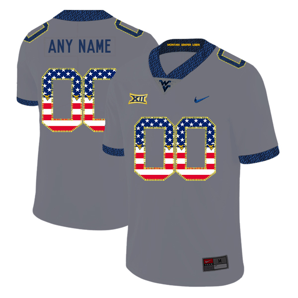 West Virginia Mountaineers Customized Gray USA Flag College Football Jersey