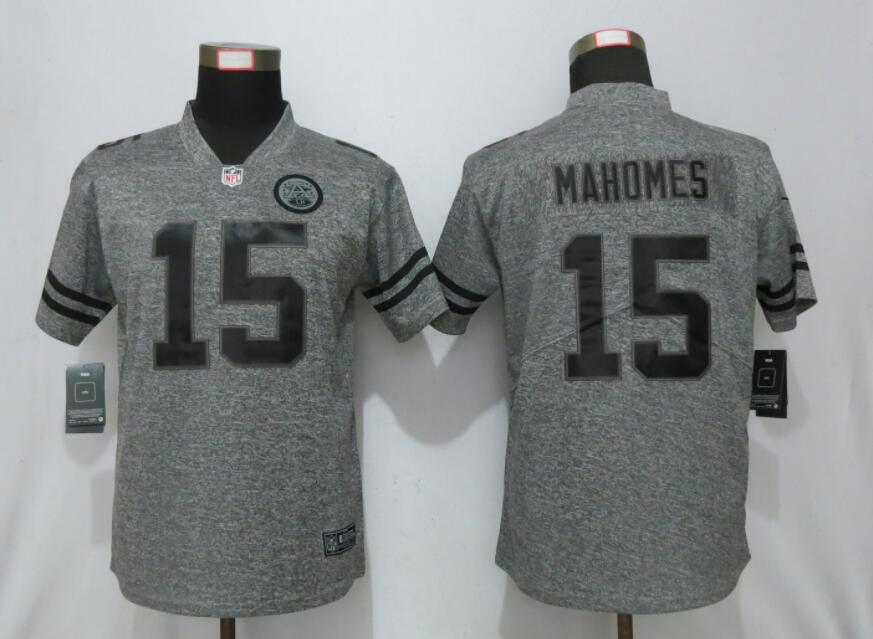Nike Chiefs 15 Patrick Mahomes Gray Gridiron Gray Women Vapor Untouchable Limited Jersey