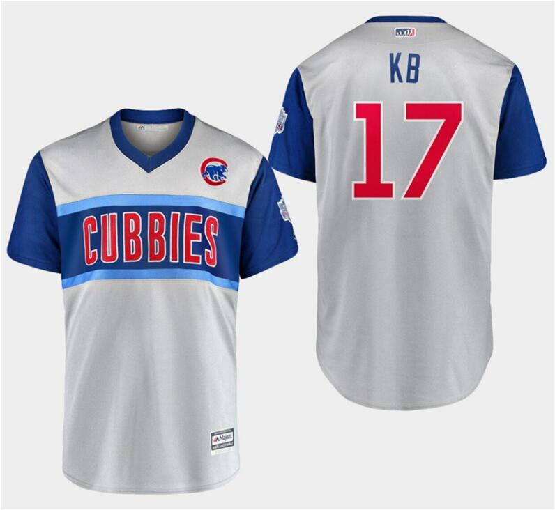 """Cubs 17 Kris Bryant """"Kb"""" Gray 2019 MLB Little League Classic Player Jersey"""