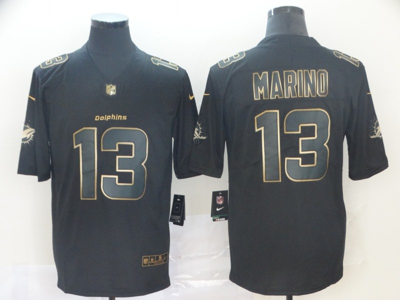 Nike Dolphins 13 Dan Marino Black Gold Vapor Untouchable Limited Jersey