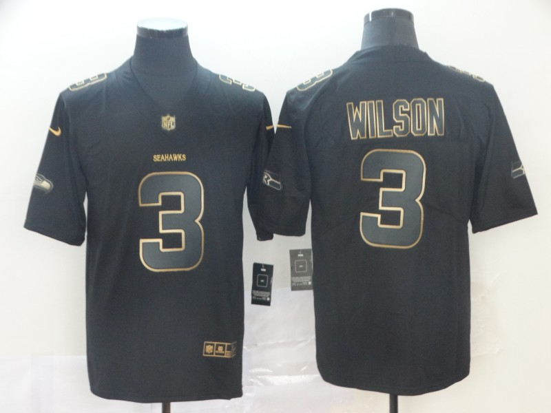 Nike Seahawks 3 Russell Wilson Black Gold Vapor Untouchable Limited Jersey