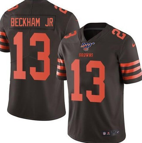 Nike Browns 13 Odell Beckham Jr. Brown 100th Season Color Rush Limited Jersey