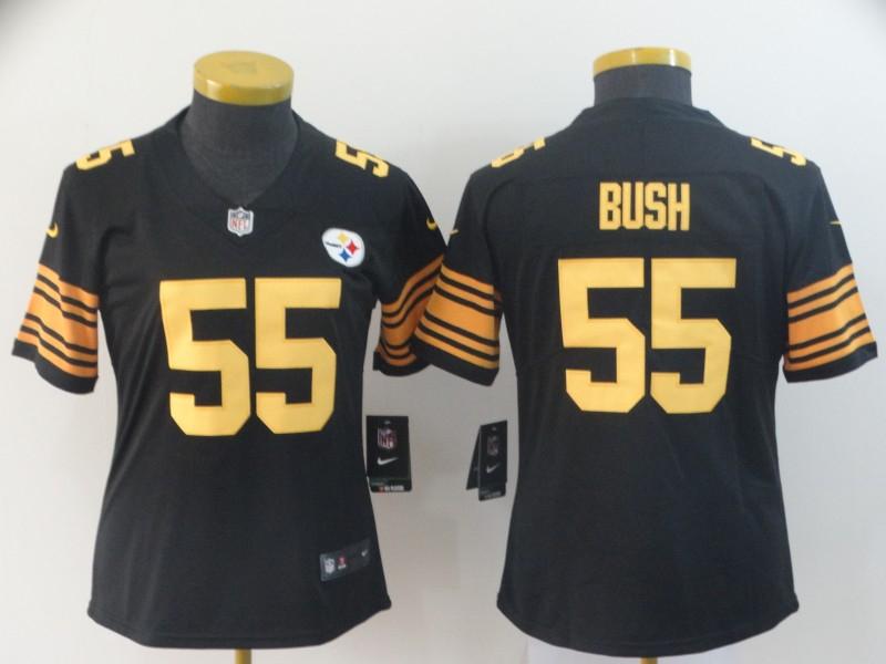 Nike Steelers 55 Devin Bush Black Women Color Rush Limited Jersey