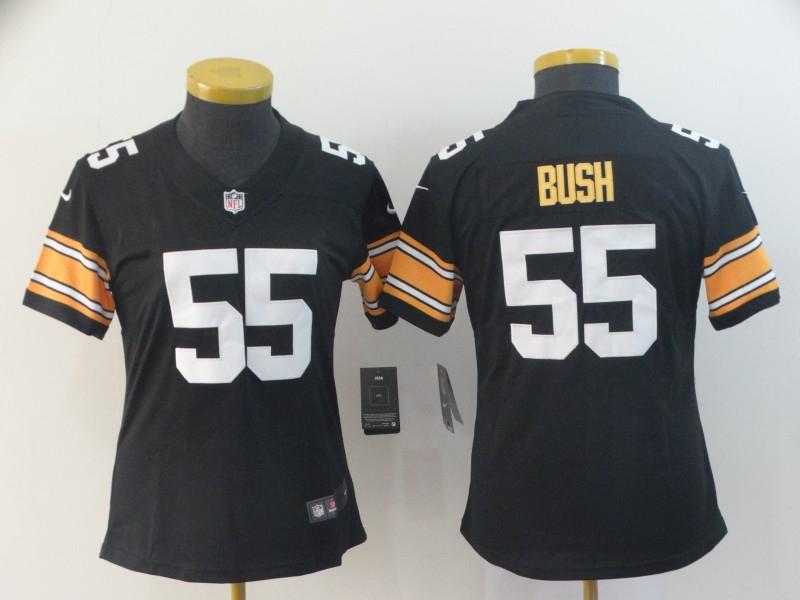 Nike Steelers 55 Devin Bush Black Women Vapor Untouchable Limited Jersey
