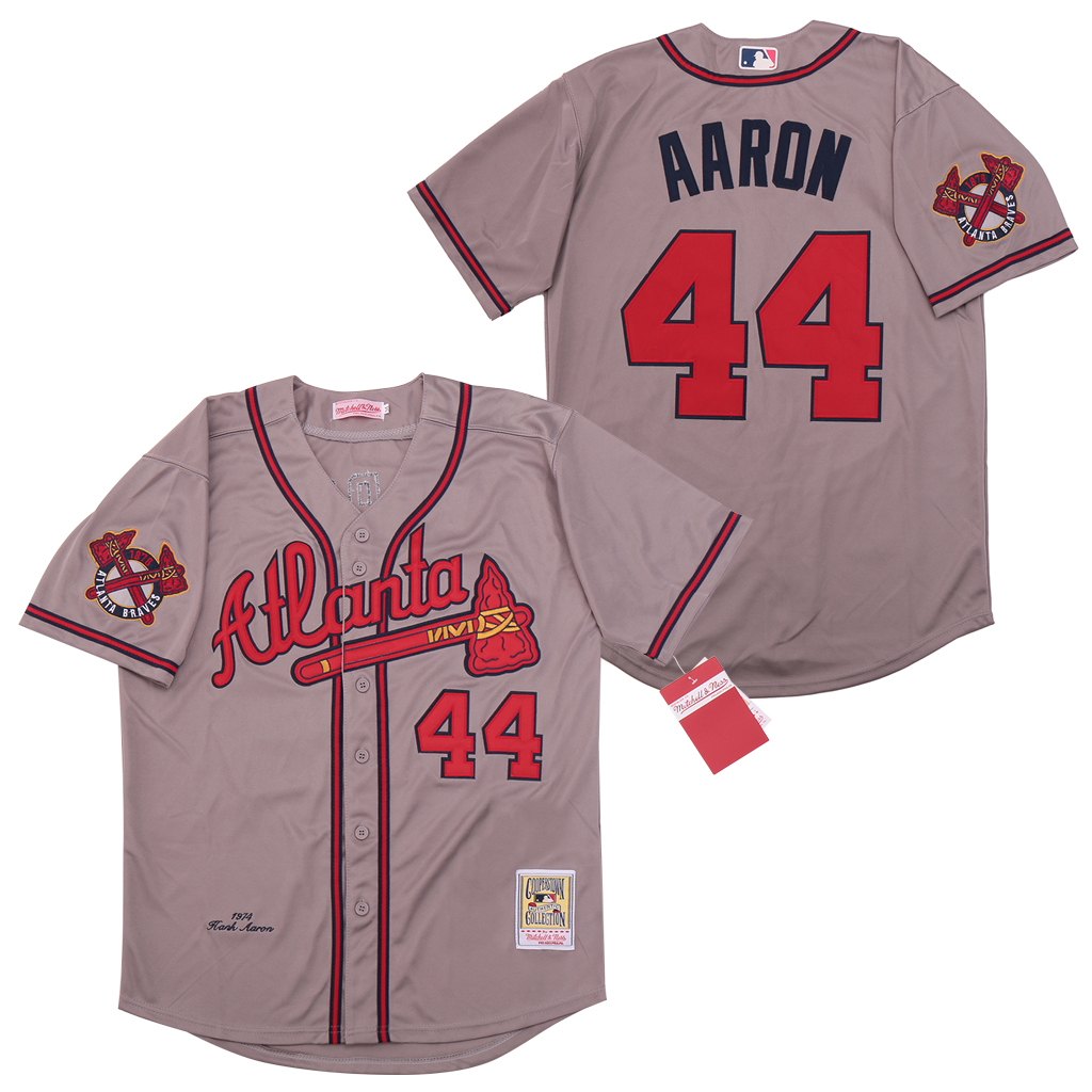 Braves 44 Hank Aaron Gray 1974 Cooperstown Collection Jersey