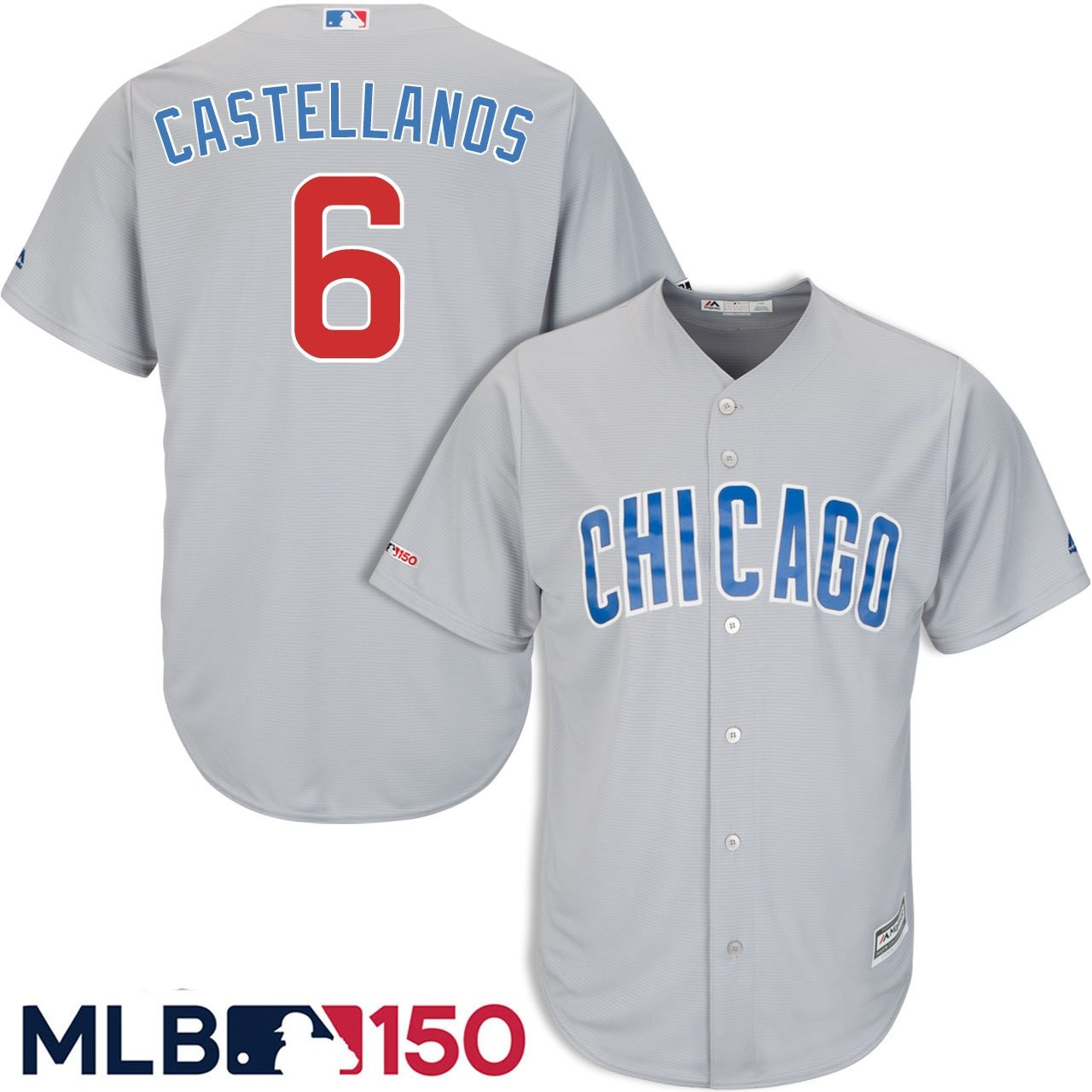 Cubs 6 Nick Castellanos Gray 150th Patch Cool Base Jersey