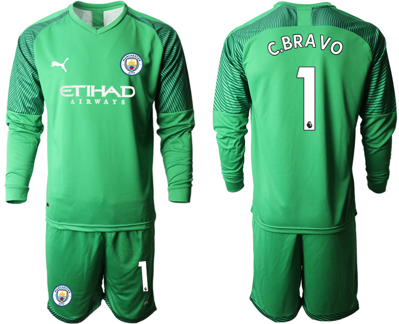 2019-20 Manchester City 1 C.BRAVO Green Goalkeeper Long Sleeve Soccer Jersey
