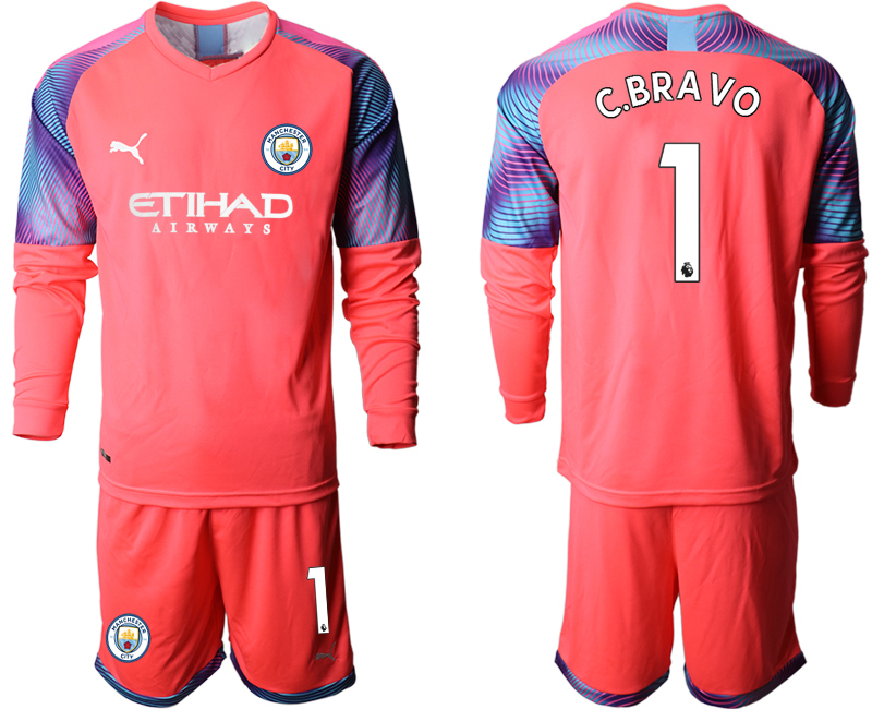 2019-20 Manchester City 1 C.BRAVO Pink Goalkeeper Long Sleeve Soccer Jersey
