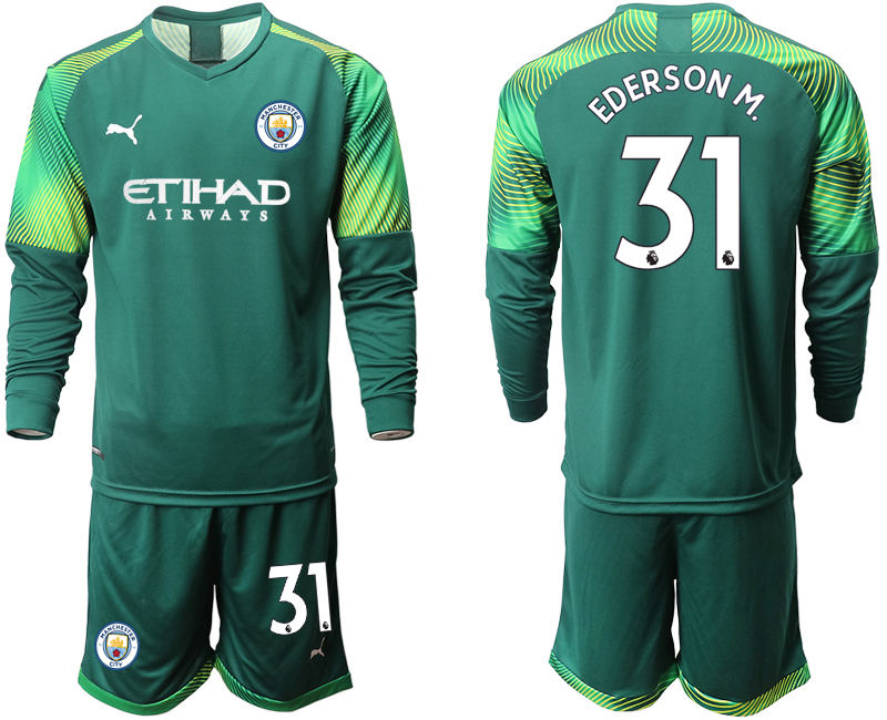 2019-20 Manchester City 31 EDERSON M. Dark Green Goalkeeper Long Sleeve Soccer Jersey