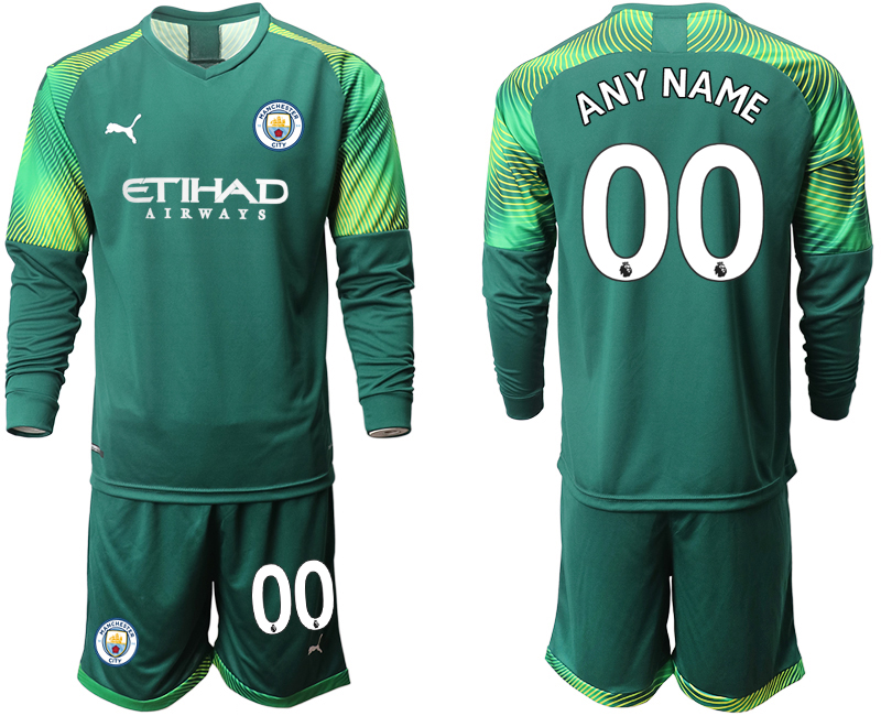 2019-20 Manchester City Customized Dark Green Goalkeeper Long Sleeve Soccer Jersey