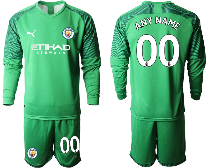 2019-20 Manchester City Customized Green Goalkeeper Long Sleeve Soccer Jersey