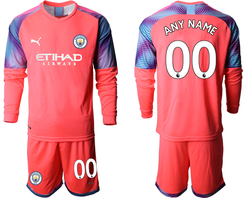 2019-20 Manchester City Customized Pink Goalkeeper Long Sleeve Soccer Jersey