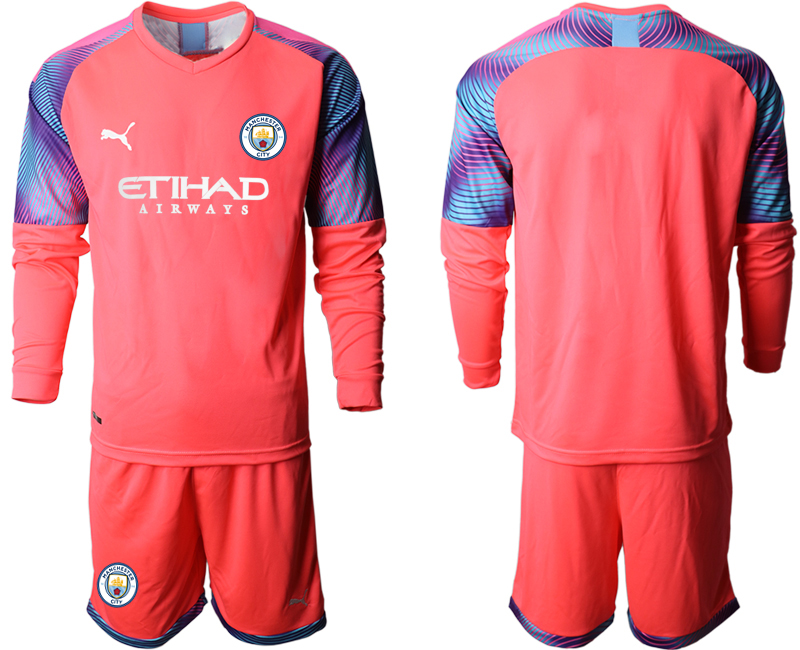 2019-20 Manchester City Pink Goalkeeper Long Sleeve Soccer Jersey