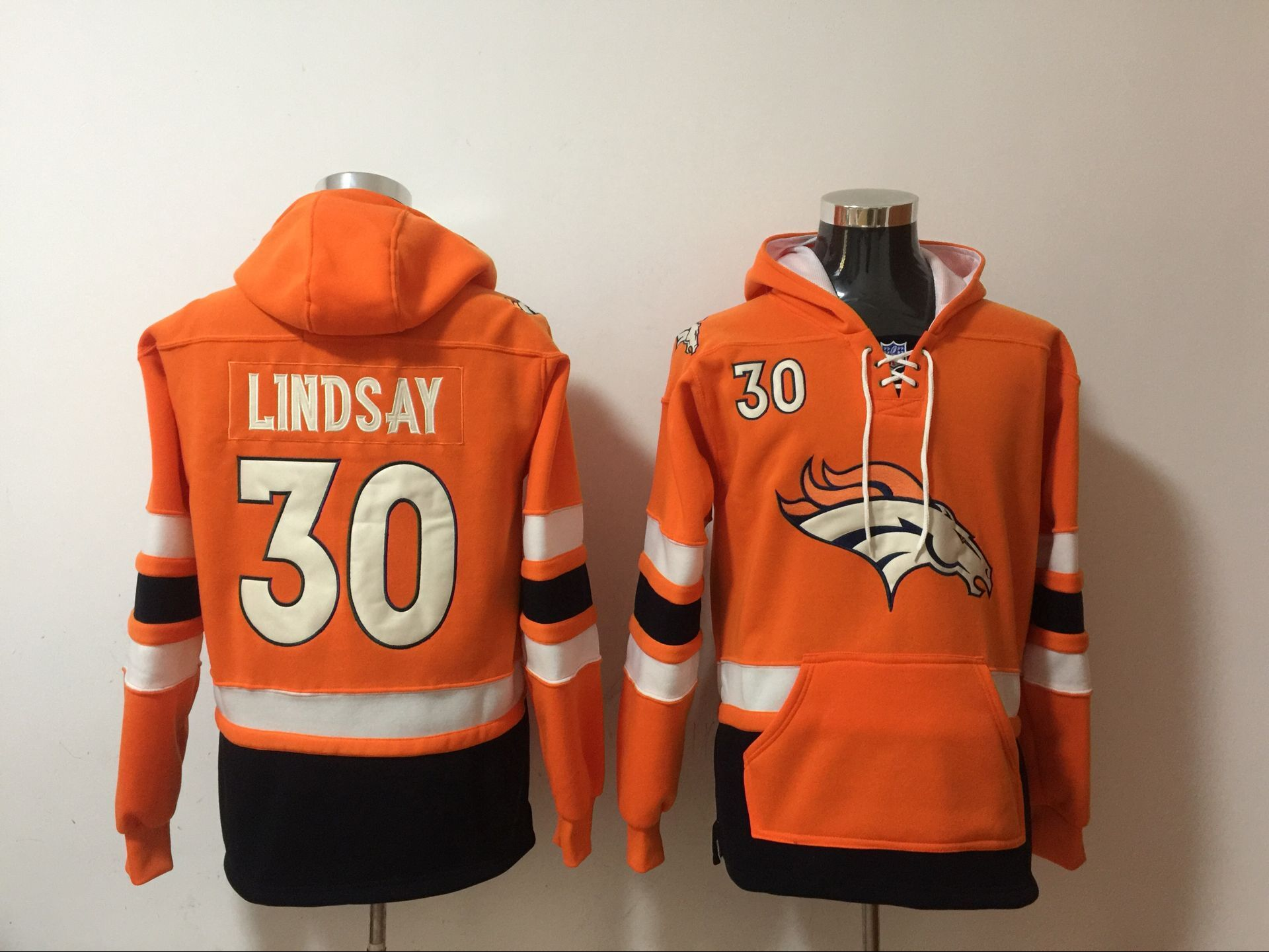 Nike Broncos 30 Phillip Lindsay Orange All Stitched Hooded Sweatshirt
