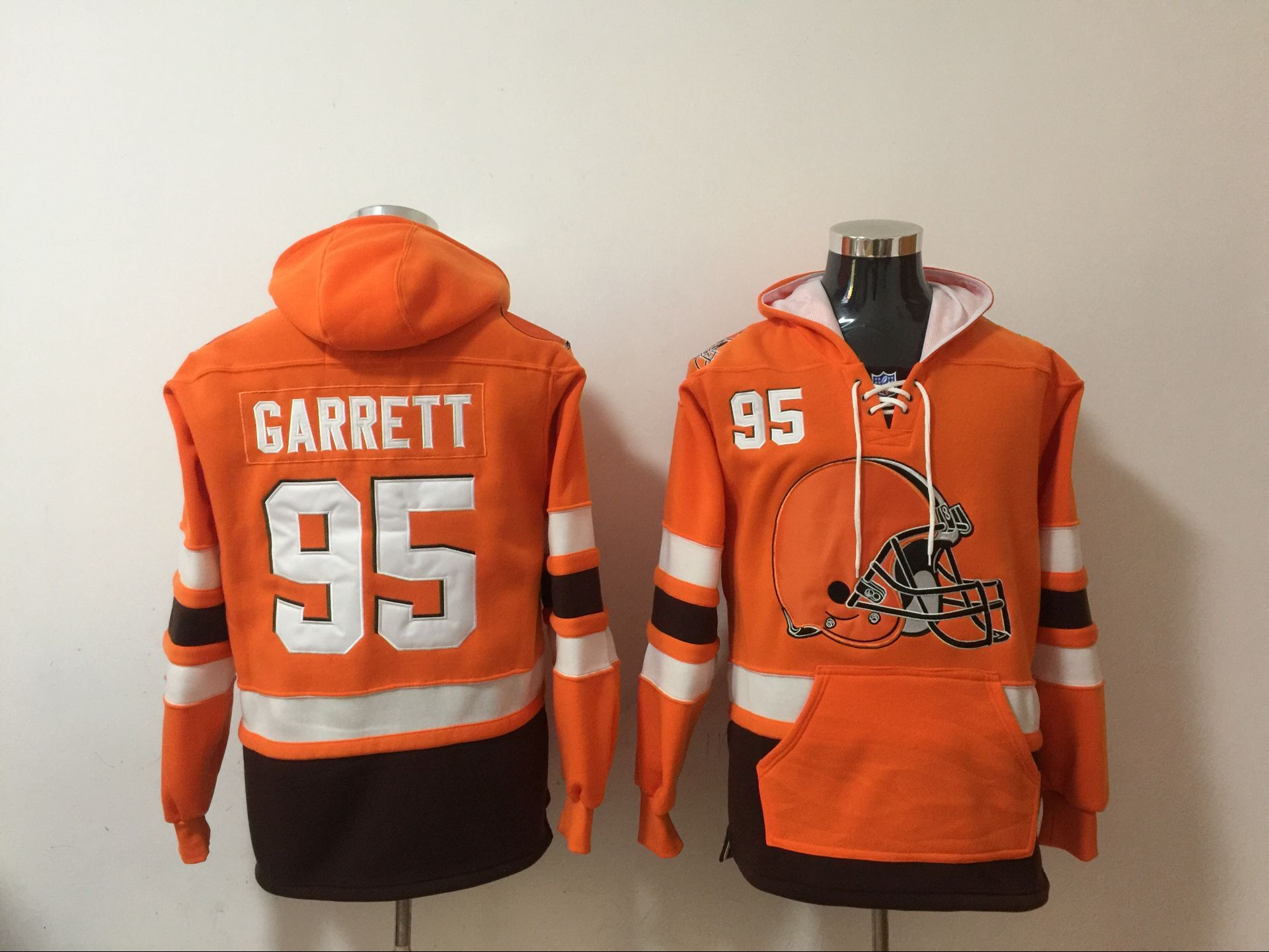 Nike Browns 95 Myles Garrett Orange All Stitched Hooded Sweatshirt