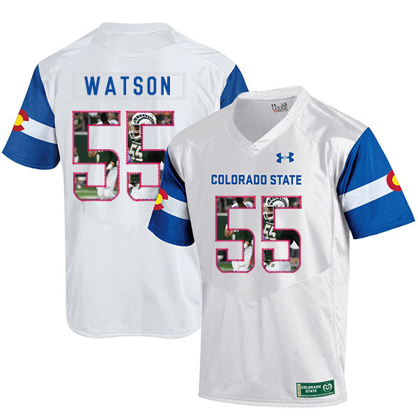 Colorado State Rams 55 Josh Watson White Fashion College Football Jersey