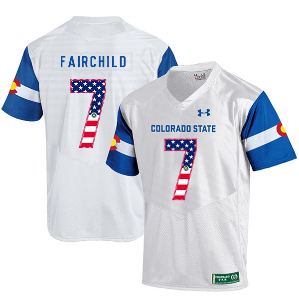Colorado State Rams 7 Steve Fairchild White USA Flag College Football Jersey