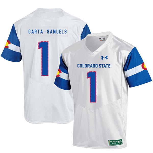 Colorado State Rams 1 K.J. Carta Samuels White College Football Jersey
