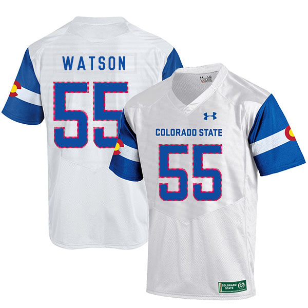 Colorado State Rams 55 Josh Watson White College Football Jersey