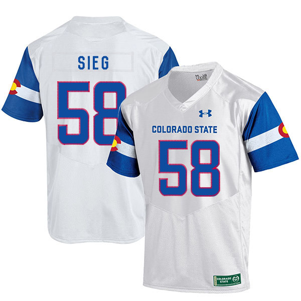 Colorado State Rams 58 Trent Sieg White College Football Jersey