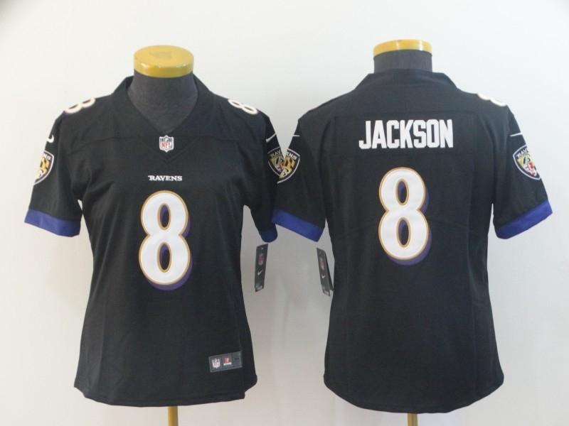 Nike Ravens 8 LaMar Jackson Black Women Vapor Untouchable Limited Jersey
