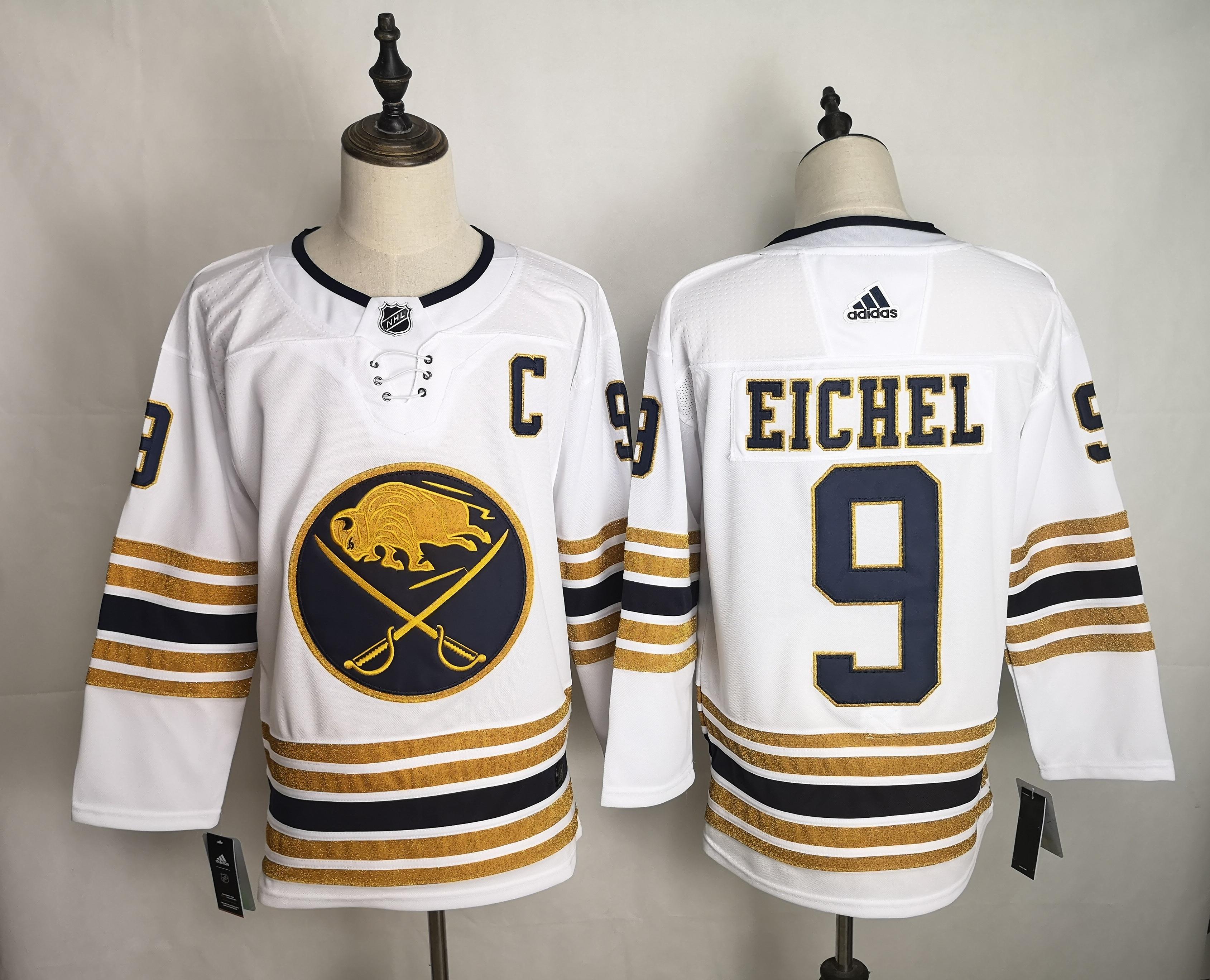 Sabres 9 Jack Eichel White 50th anniversary Adidas Jersey